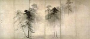 0021 - Hasegawa Tohaku (1539-1610) - Biombos con pinos entre niebla. Museo Nacional de Tokio.